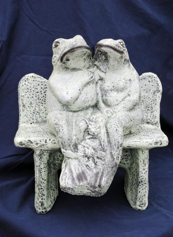 Twin frogs on bench